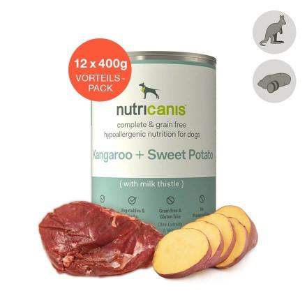 Adult wet dog food: 12 x 400g Kangaroo + Sweet Potato