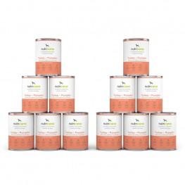 Adult wet dog food: 12 x 400g Turkey + Pumpkin with milk thistle