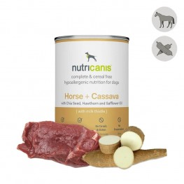 Adult wet dog food: 400g Horse + Cassava with milk thistle