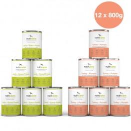 Adult wet dog food mix: 6 x 800g Lamb + Sweet potato & 6 x 800g Turkey + Pumpkin