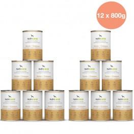 Adult wet dog food: 12 x 800g Horse + Cassava with milk thistle
